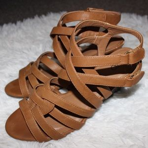 Cato Brown Strappy Wedges